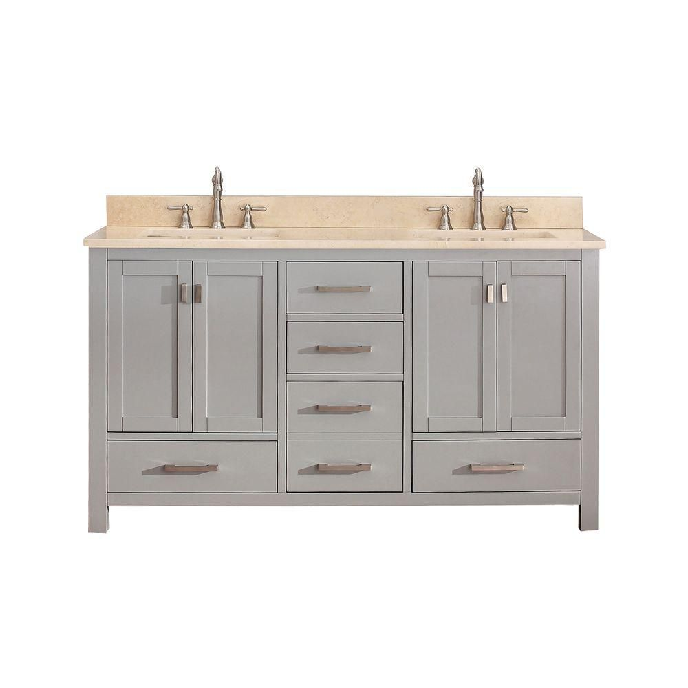 Modero 60-inch W Vanity in Chilled Grey Finish with Marble Top in Gala Beige
