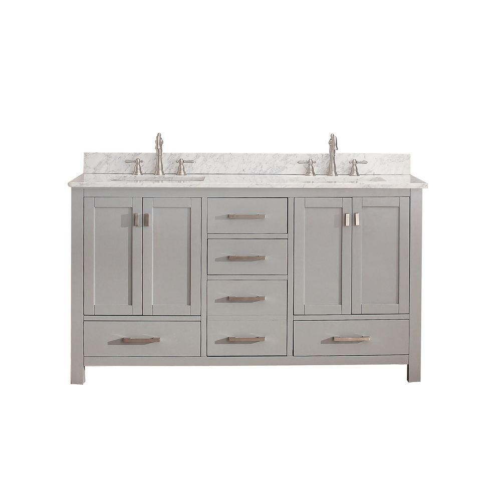 Avanity Modero 61-inch W Freestanding Vanity in Grey With Marble Top in White, Double Basins
