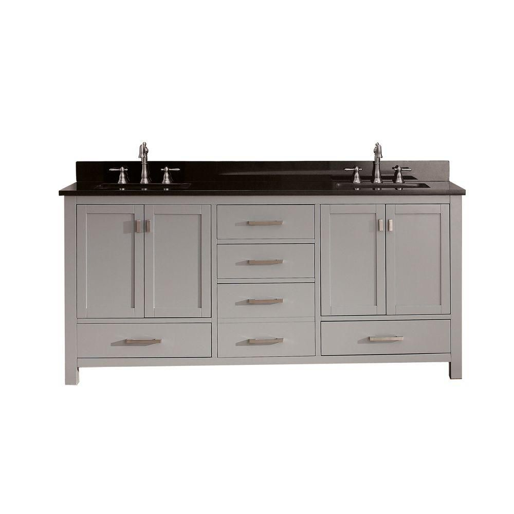 Modero 72-inch W Vanity in Chilled Grey Finish with Granite Top in Black