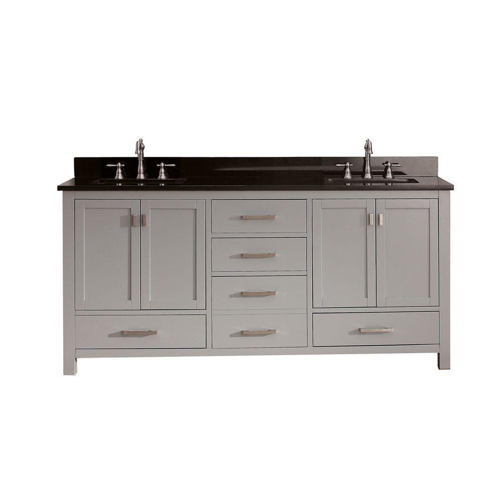 Avanity Modero 73-inch W Freestanding Vanity in Grey With Granite Top in Black, Double Basins