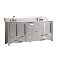 Modero 73-inch W Freestanding Vanity in Grey With Marble Top in White, Double Basins