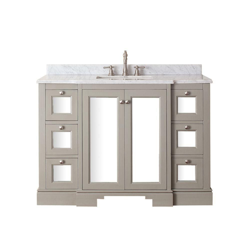 Newport 48-inch W Vanity in French Grey Finish with Marble Top in Carrara White