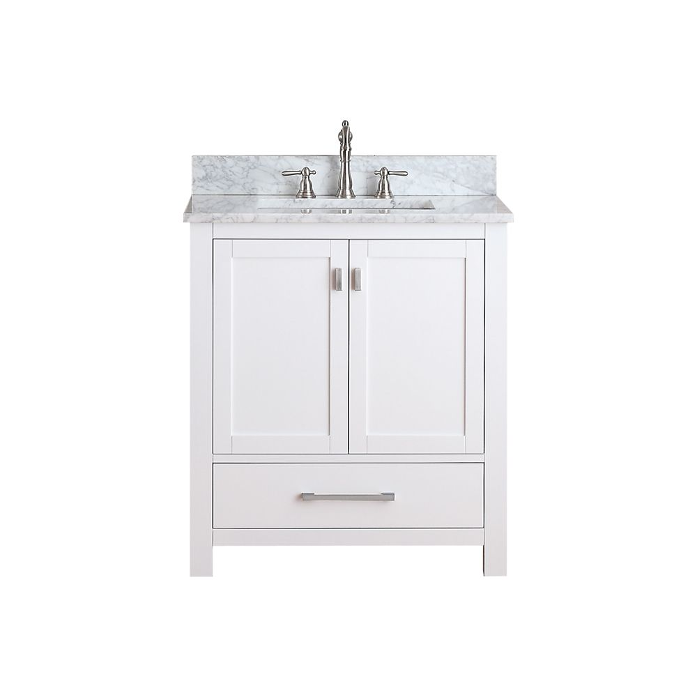 Modero 30-inch W Vanity in White Finish with Marble Top in Carrara White