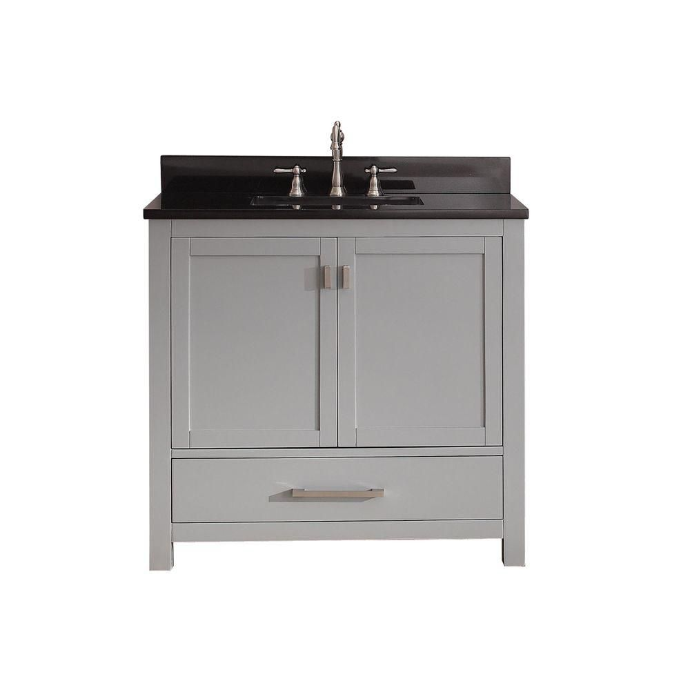 Modero 36-inch W Vanity in Chilled Grey Finish with Granite Top in Black