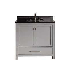 Avanity Modero 37-inch W Freestanding Vanity in Grey With Granite Top in Black
