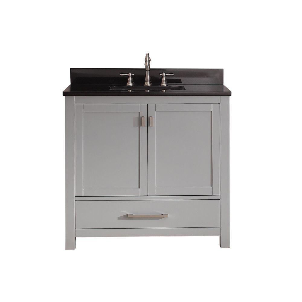 Avanity Modero 37-inch W Freestanding Vanity in Grey With Granite Top in Black