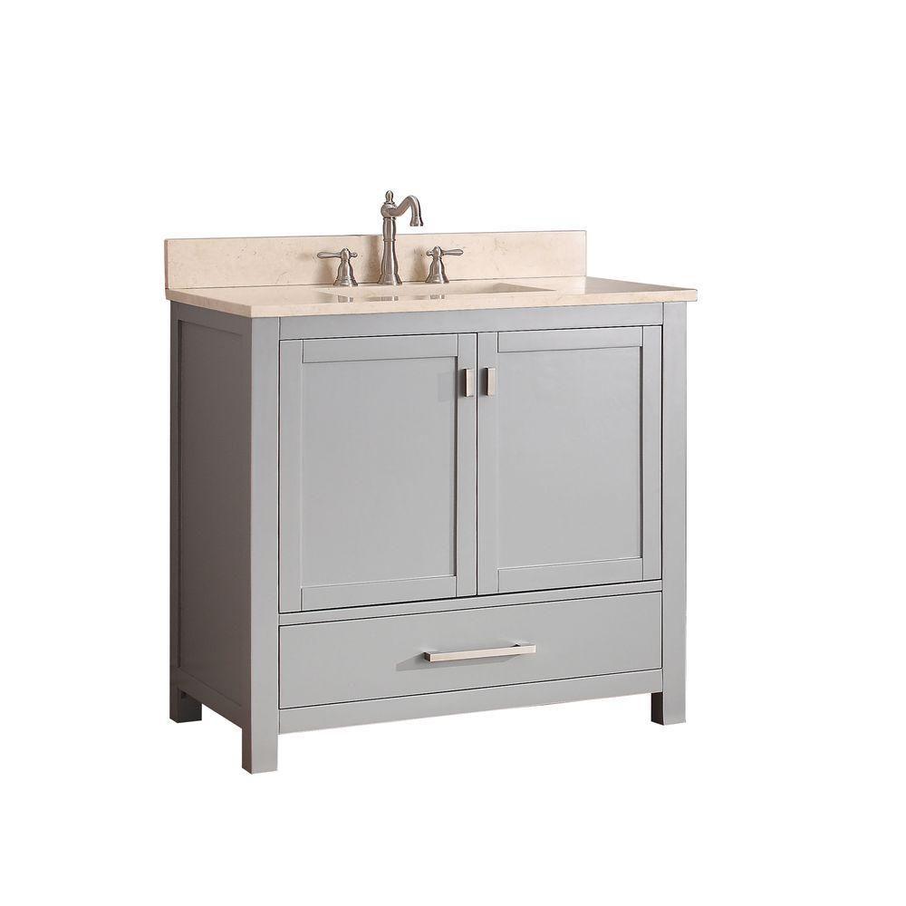Avanity Modero 37-inch W Freestanding Vanity in Grey With Marble Top in Beige Tan