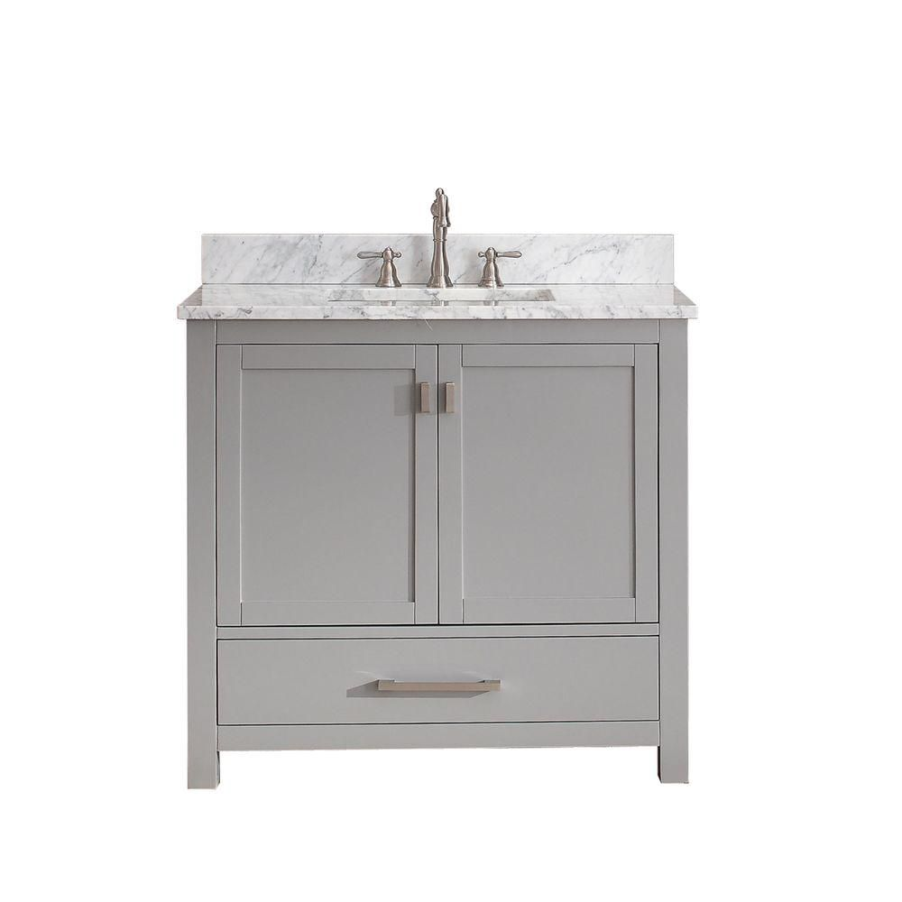 Avanity Modero 36 Inch W Vanity In Chilled Grey Finish With Marble Top In Carrara White The