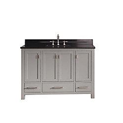 Avanity Modero 49-inch W Freestanding Vanity in Grey With Granite Top in Black