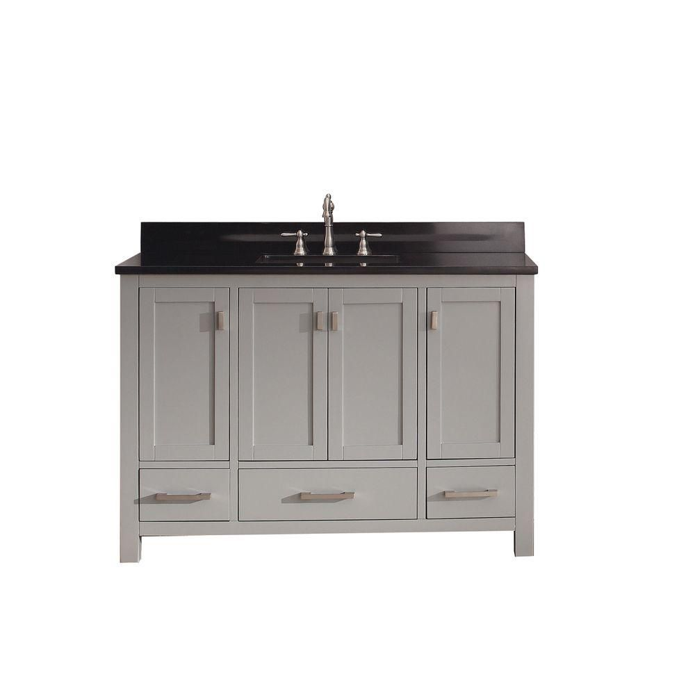 Modero 48-inch W Vanity in Chilled Grey Finish with Granite Top in Black