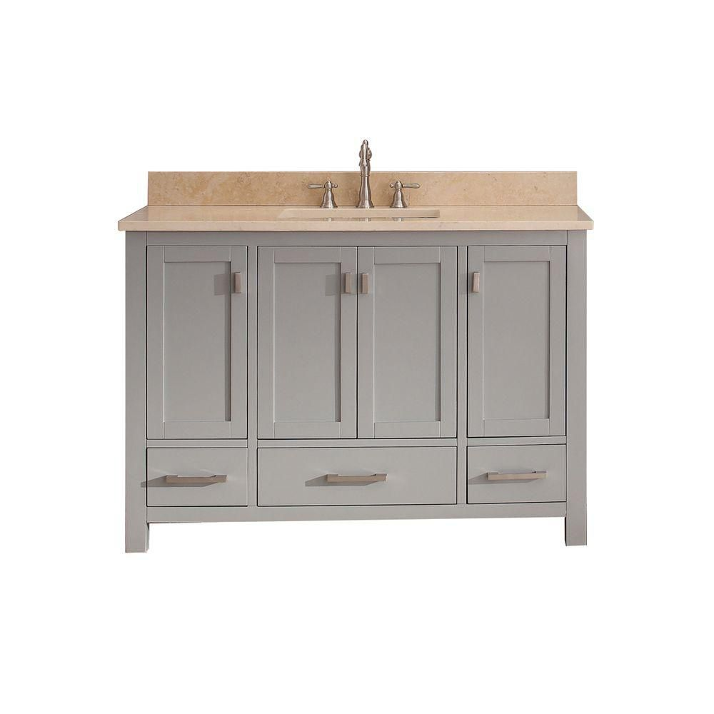 Modero 48-inch W Vanity in Chilled Grey Finish with Marble Top in Gala Beige
