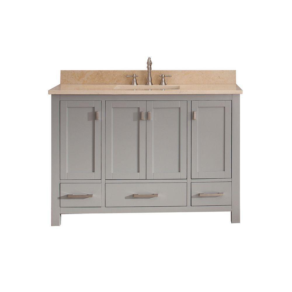 Modero 49-inch W Freestanding Vanity in Grey With Marble Top in Beige Tan
