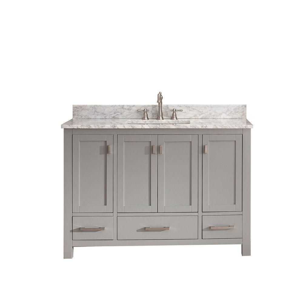Modero 48-inch W Vanity in Chilled Grey Finish with Marble Top in Carrara White