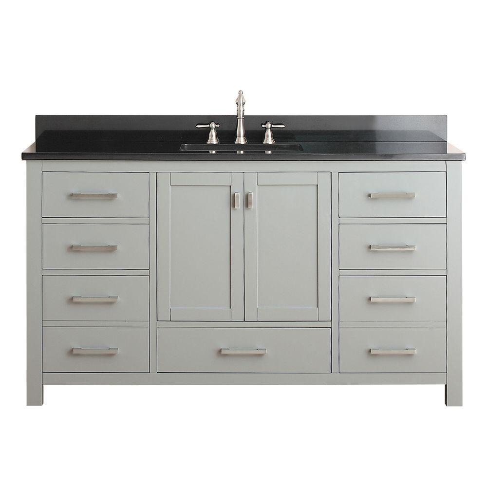 Modero 61-inch W Freestanding Vanity in Grey With Granite Top in Black, Double Basins