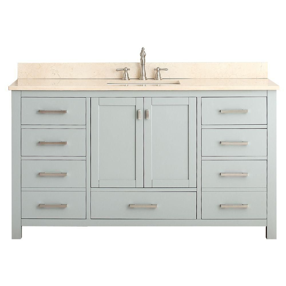 Avanity Modero 61-inch W Freestanding Vanity in Grey With Marble Top in Beige Tan, Double Basins