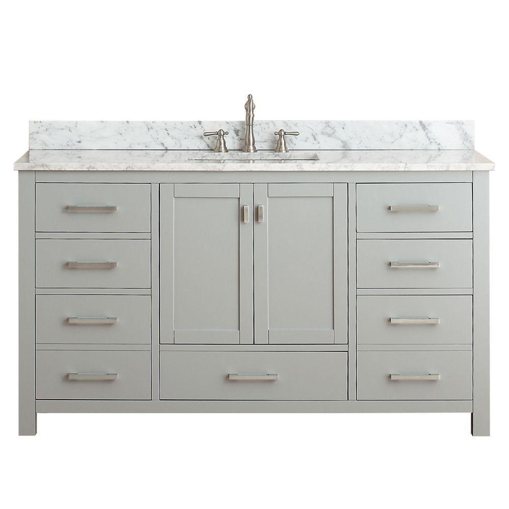 Avanity Modero 61-inch W Freestanding Vanity in Grey With Marble Top in White