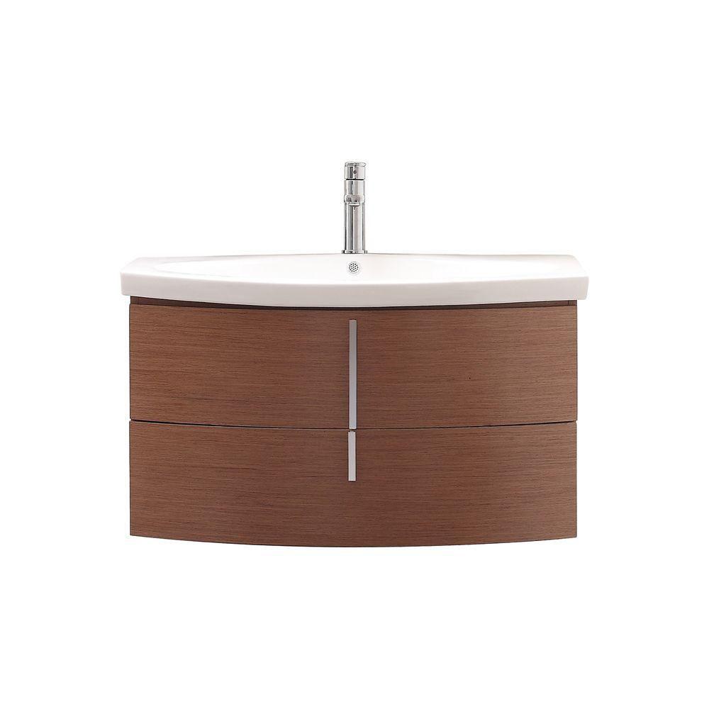 Meuble-lavabo Siena de 36 po au fini châtaignier avec comptoir en porcelaine vitrifiée