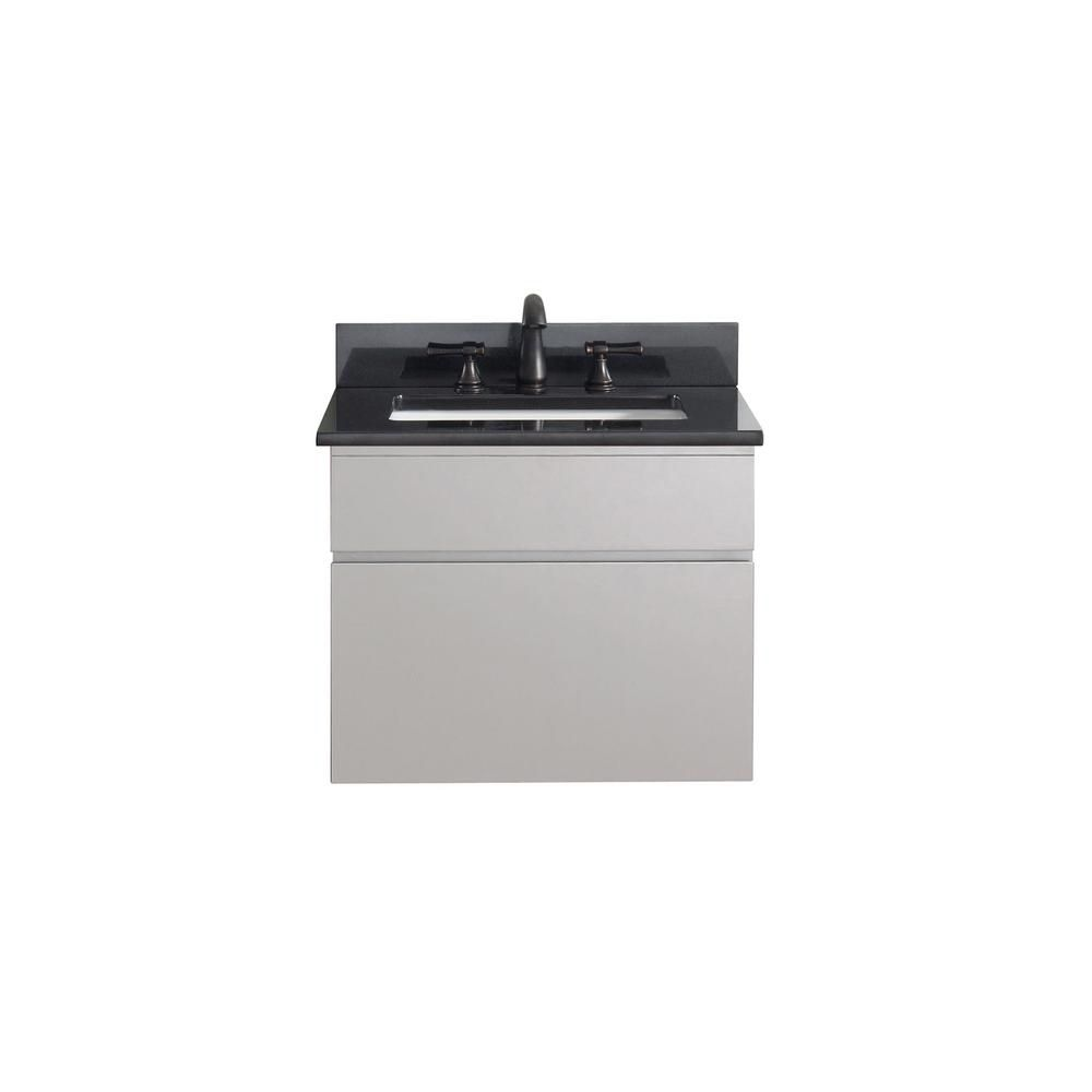 Tribeca 24-inch W Vanity in Chilled Grey Finish with Granite Top in Black