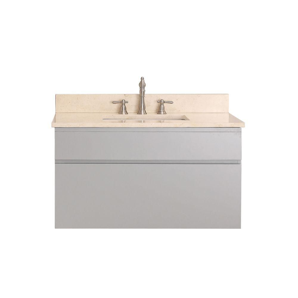 Tribeca 36-inch W Vanity in Chilled Grey Finish with Marble Top in Gala Beige
