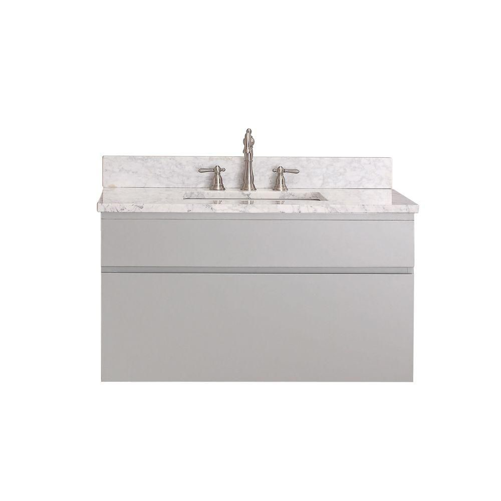 Tribeca 36-inch W Vanity in Chilled Grey Finish with Marble Top in Carrara White