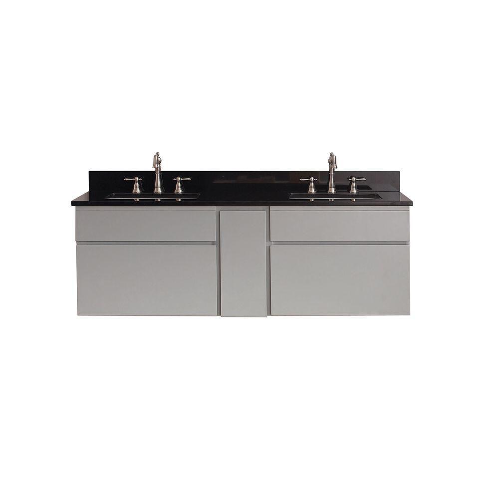 Tribeca 60 In. Vanity in Chilled Gray with Granite Vanity Top in Black TRIBECA-VS60-CG-A in Canada