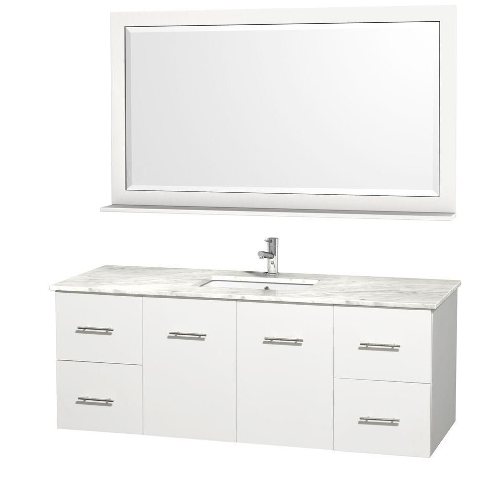 Centra 60-inch W Vanity in White with Marble Top in Carrara White and Undermount Sink