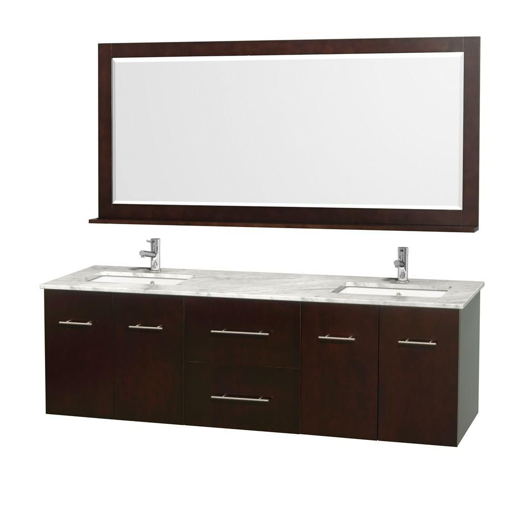 Centra 72-inch W 2-Drawer 4-Door Wall Mounted Vanity in Brown With Marble Top in White, 2 Basins