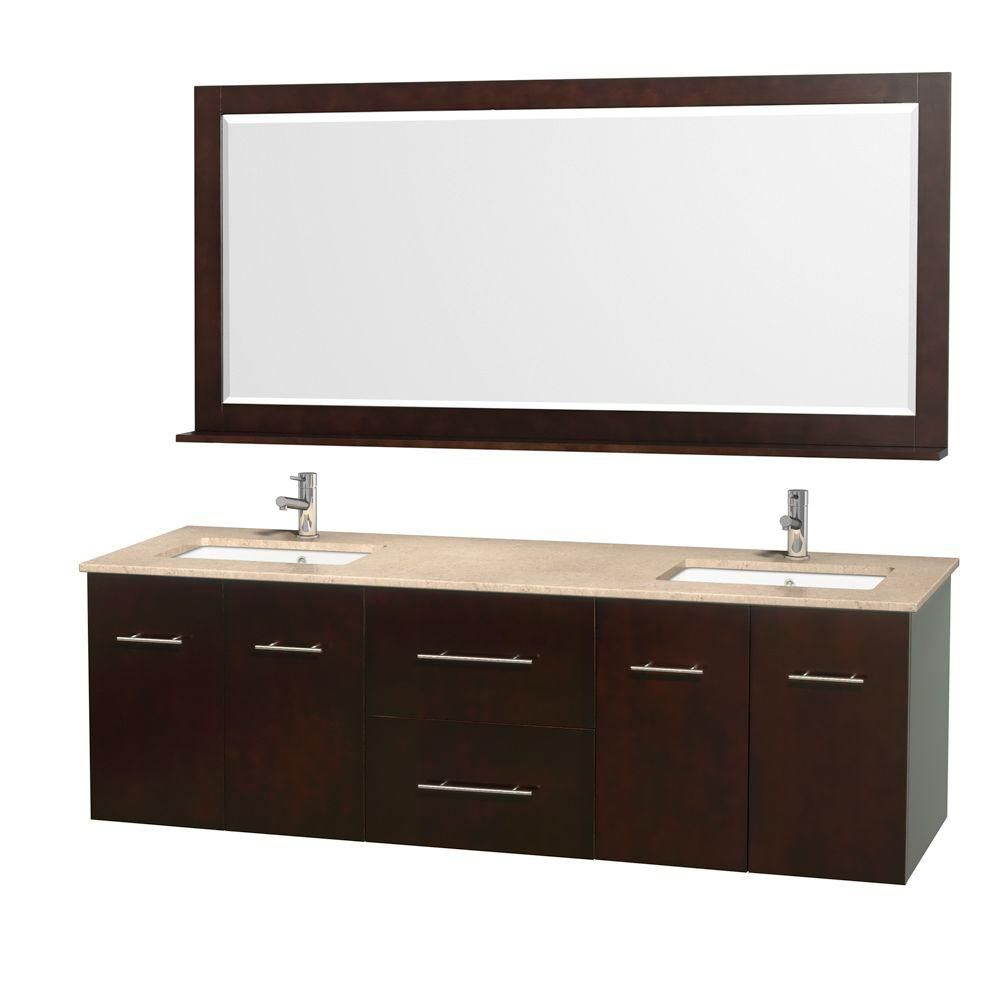 Wyndham Collection Centra 72-inch W 2-Drawer 4-Door Wall Mounted Vanity in Brown With Marble Top in Beige Tan, 2 Basins