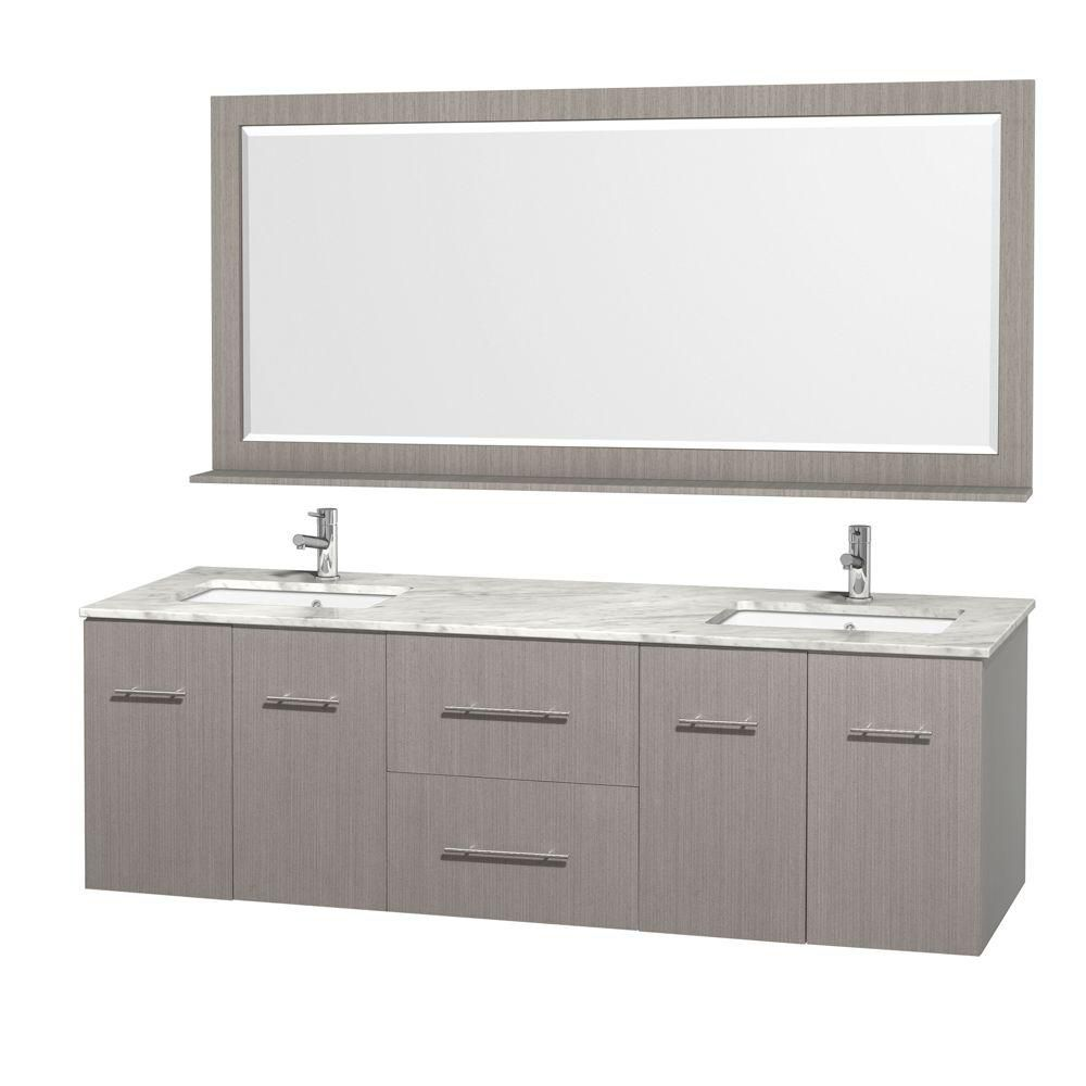 Centra 72-inch W Double Vanity in Grey Oak with Marble Top in Carrara White and Undermount Sinks