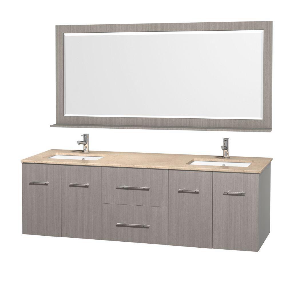Centra 72 po Meuble dbl. chêne gris et revêtement en marbre ivoire et éviers sous comptoir