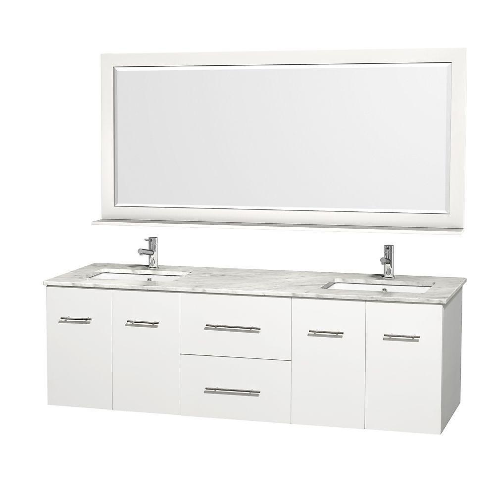 Centra 72 po Meuble blanc dbl. et revêtement en marbre blanc Carrare et éviers sous comptoir