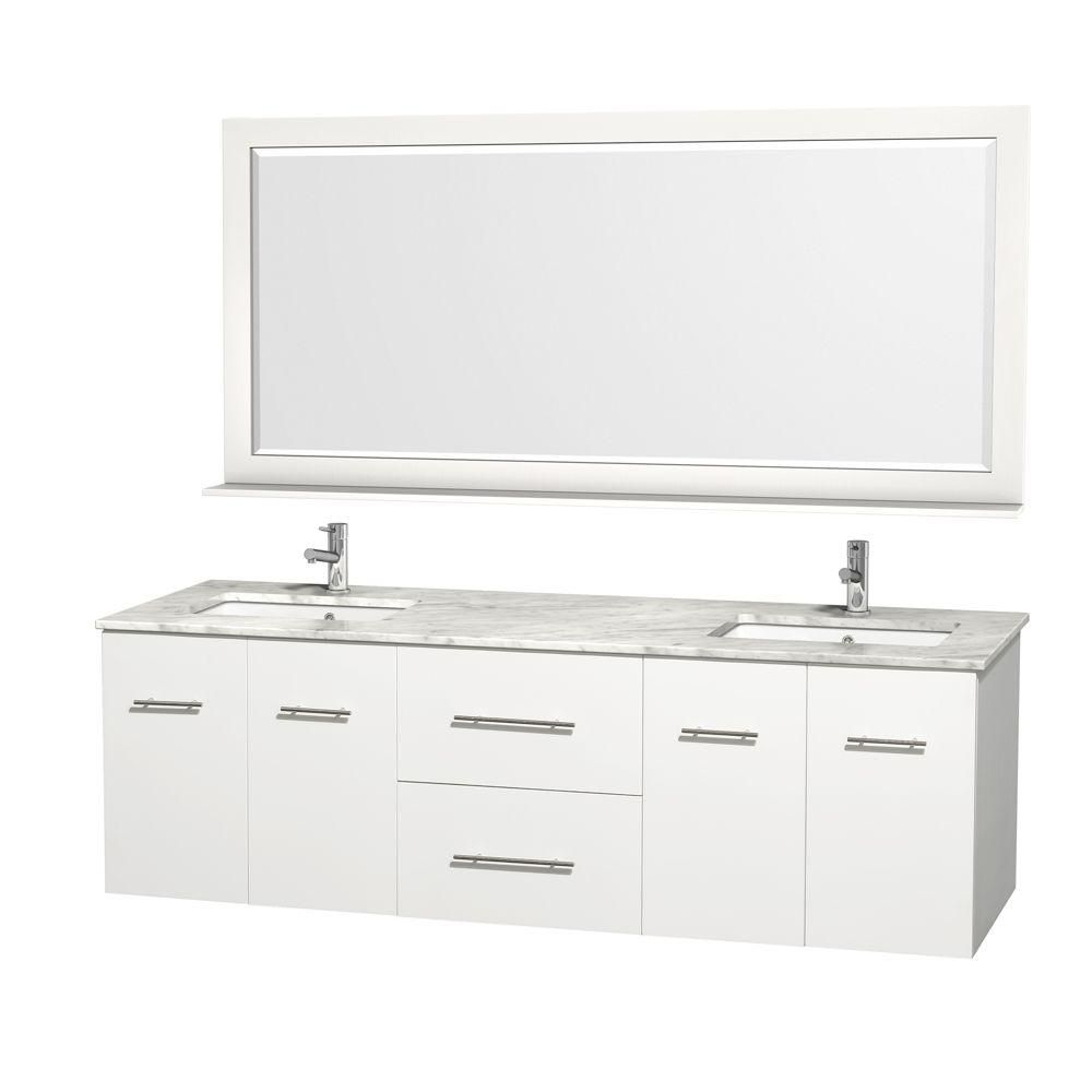 Centra 72-inch W 2-Drawer 4-Door Wall Mounted Vanity in White With Marble Top in White, 2 Basins