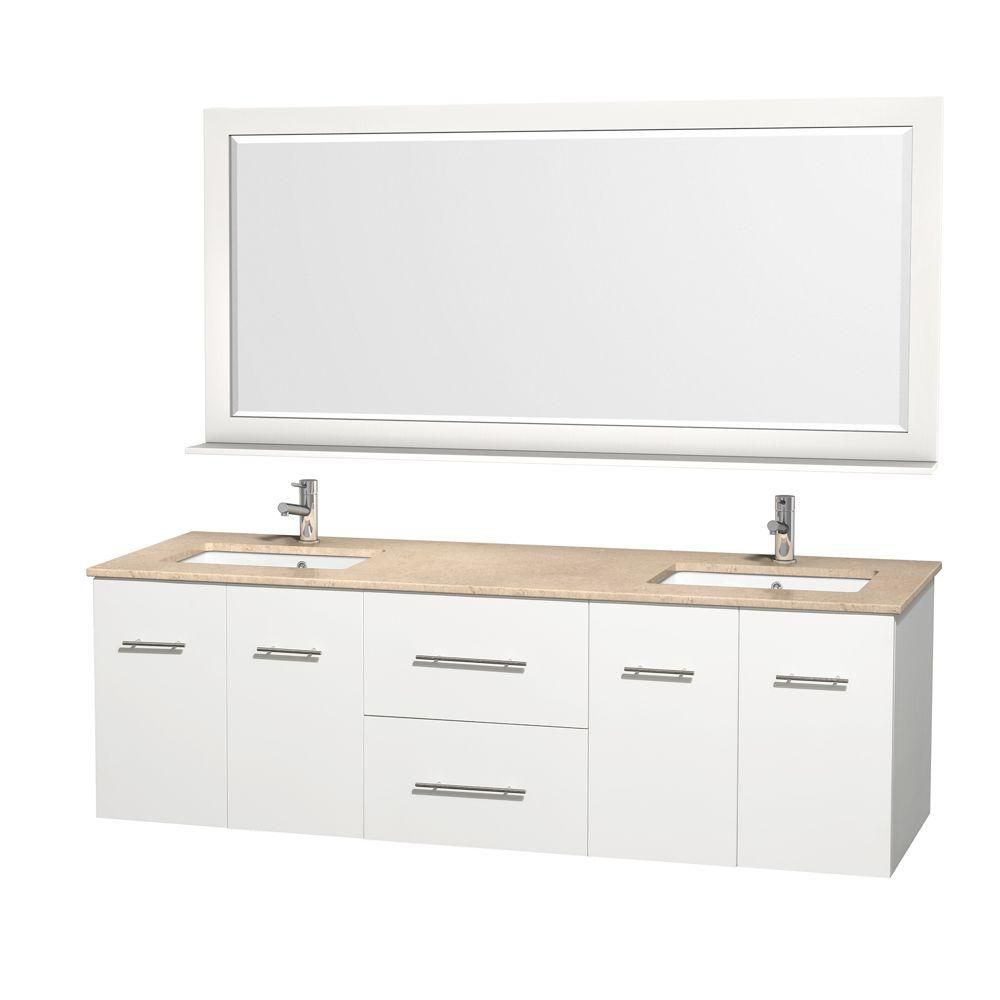 Wyndham Collection Centra 72-inch W 2-Drawer 4-Door Wall Mounted Vanity in White With Marble Top in Beige Tan, 2 Basins