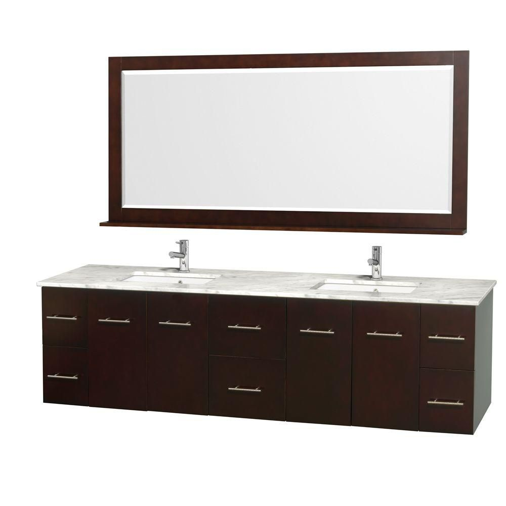 Centra 80-inch W Double Vanity in Espresso with Marble Top in Carrara White and Undermount Sinks