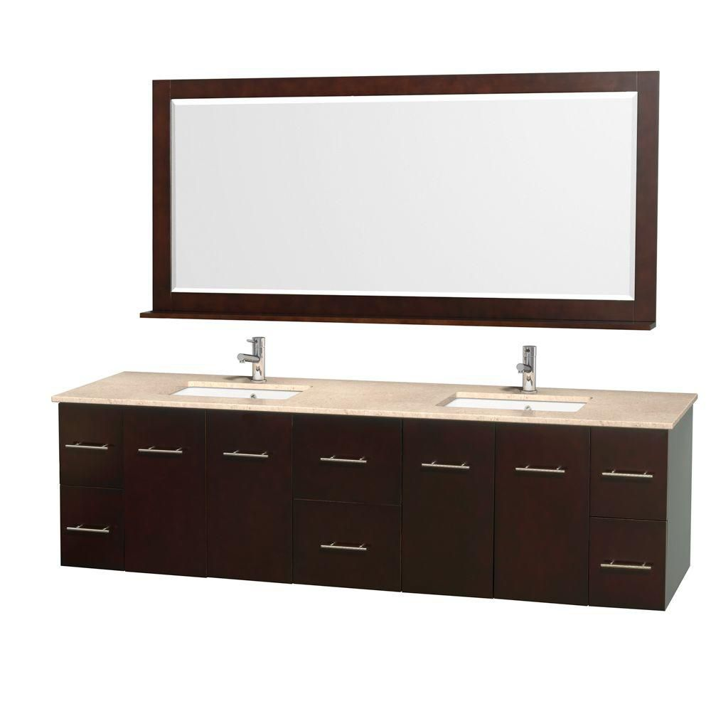 Centra 80-inch W Double Vanity in Espresso with Marble Top in Ivory and Undermount Sinks