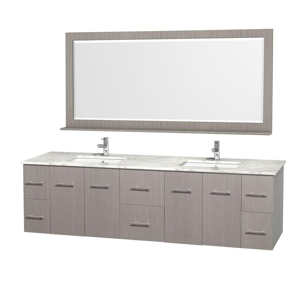 Centra 80-inch W Double Vanity in Grey Oak with Marble Top in Carrara White and Undermount Sinks