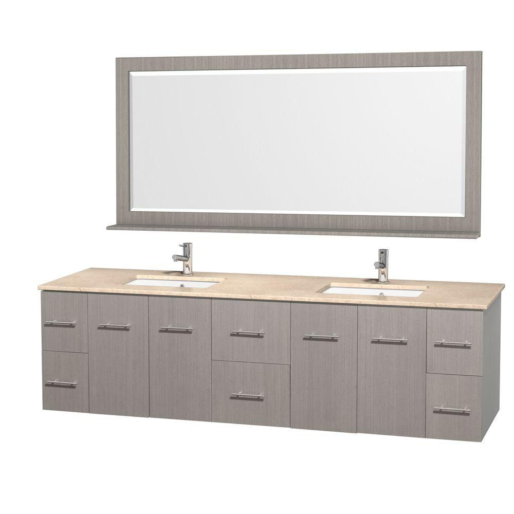 Centra 80-inch W Double Vanity in Grey Oak with Marble Top in Ivory and Undermount Sinks