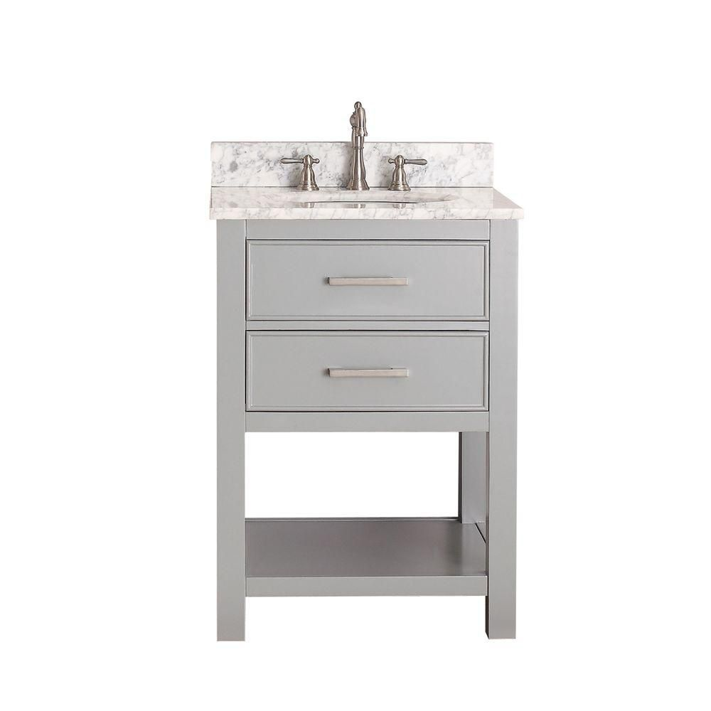 Brooks 24-inch W Vanity in Chilled Grey Finish with Marble Top in Carrara White