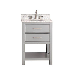 Avanity Brooks 25-inch W 1-Drawer Freestanding Vanity in Grey With Marble Top in White