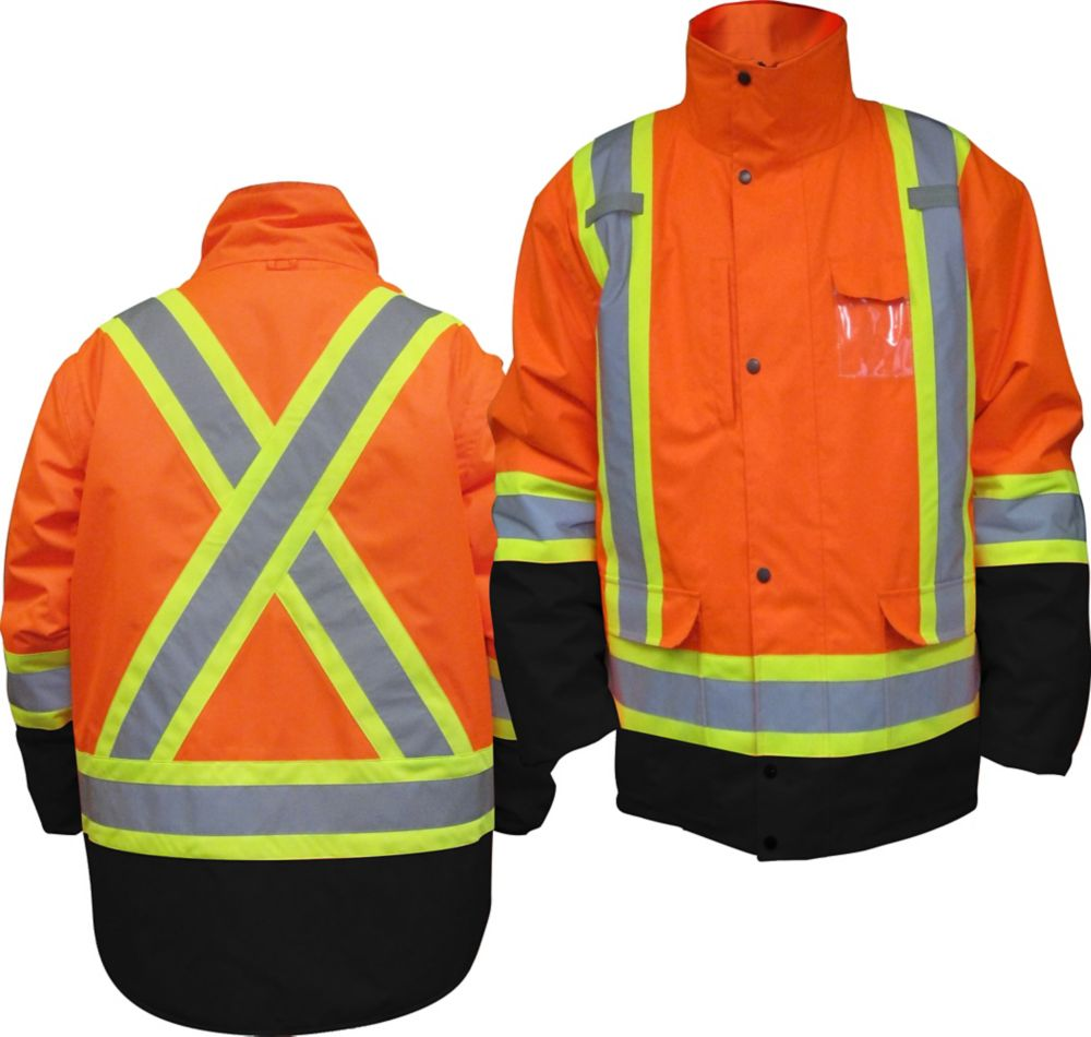 HIGH Viz Parka 5 In 1 Orange XLarge