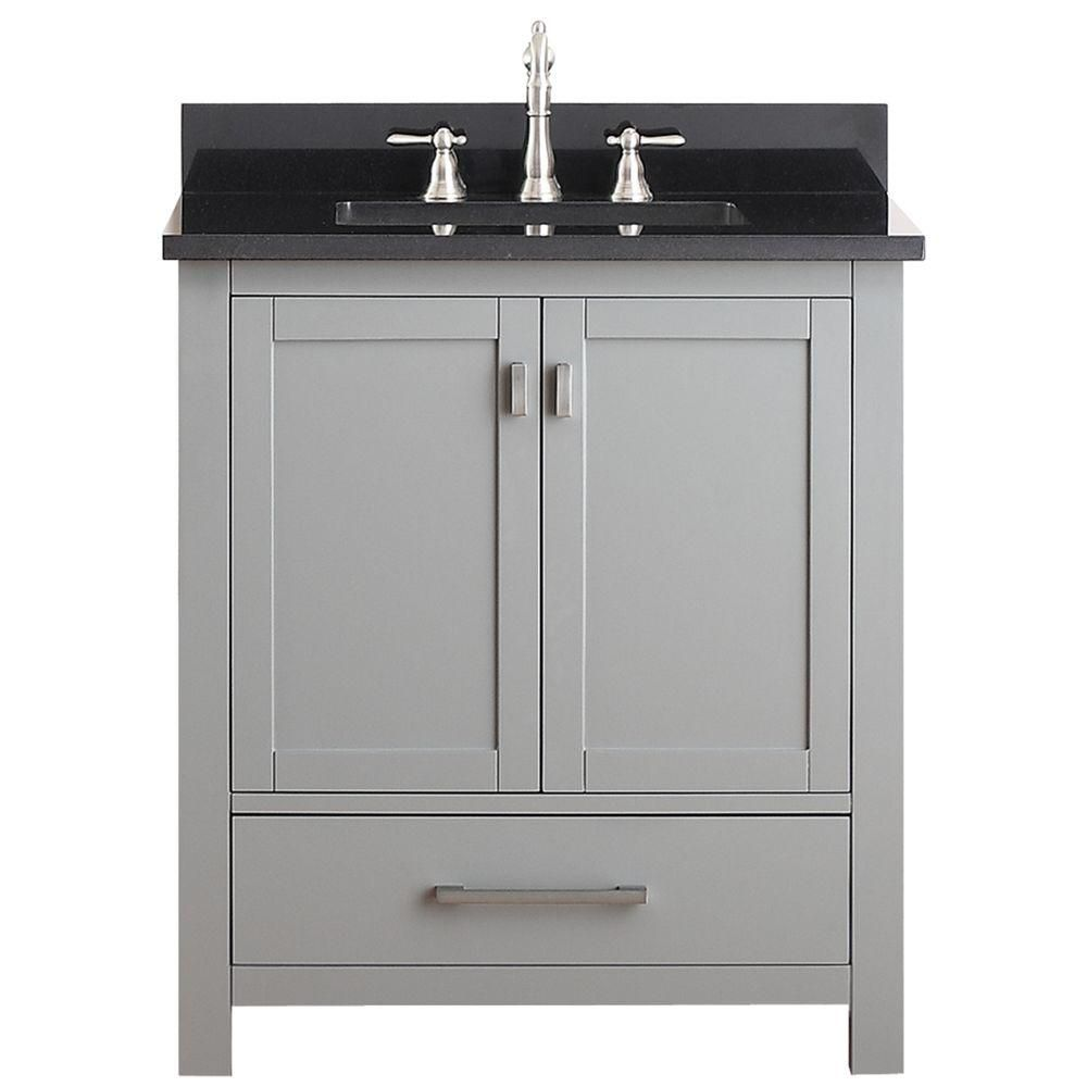 Modero 30-inch W Vanity in Chilled Grey Finish with Granite Top in Black
