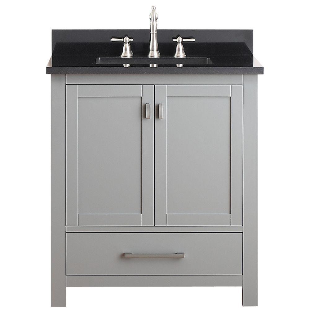 Modero 31-inch W Freestanding Vanity in Grey With Granite Top in Black