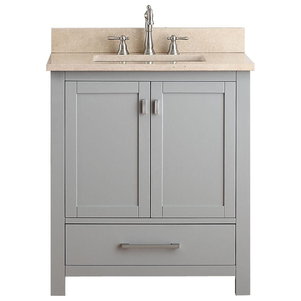 Modero 30-inch W Vanity in Chilled Grey Finish with Marble Top in Gala Beige