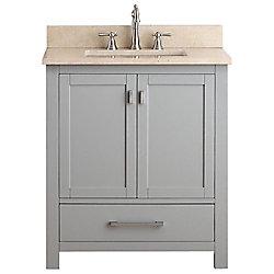 Avanity Modero 31-inch W Freestanding Vanity in Grey With Marble Top in Beige Tan