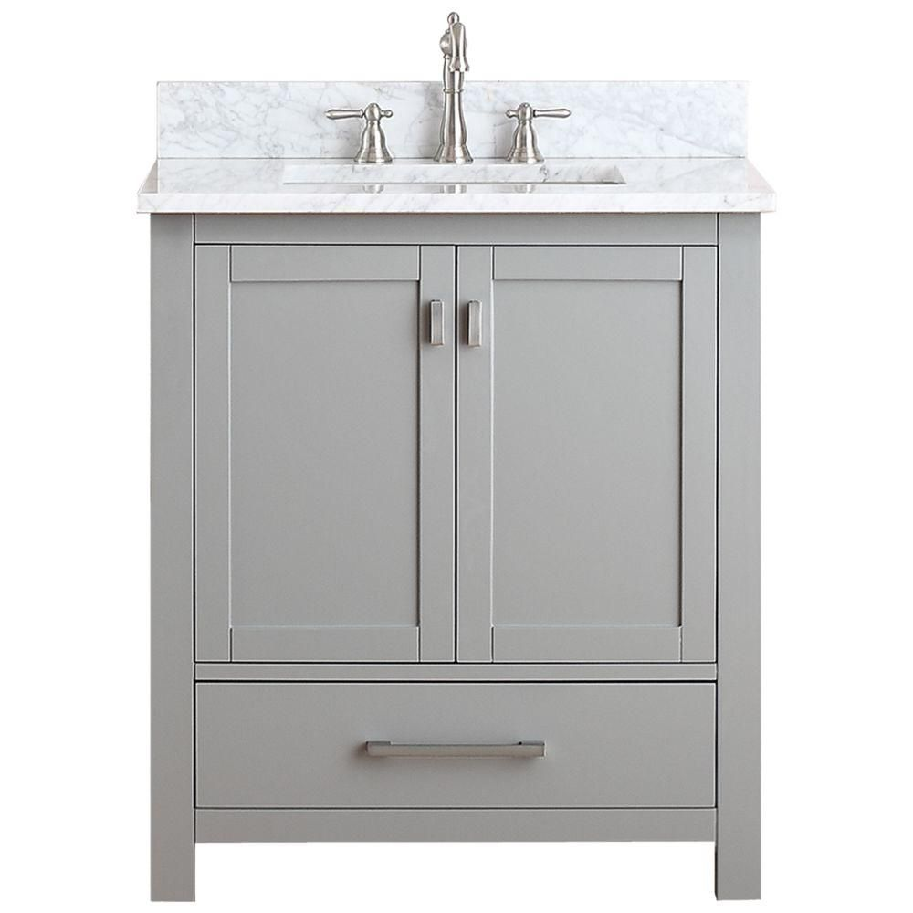 Modero 30-inch W Vanity in Chilled Grey Finish with Marble Top in Carrara White