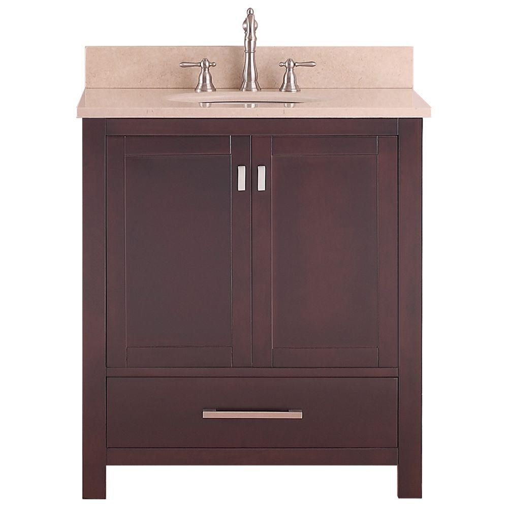 Modero 31-inch W Freestanding Vanity in Brown With Marble Top in Beige Tan