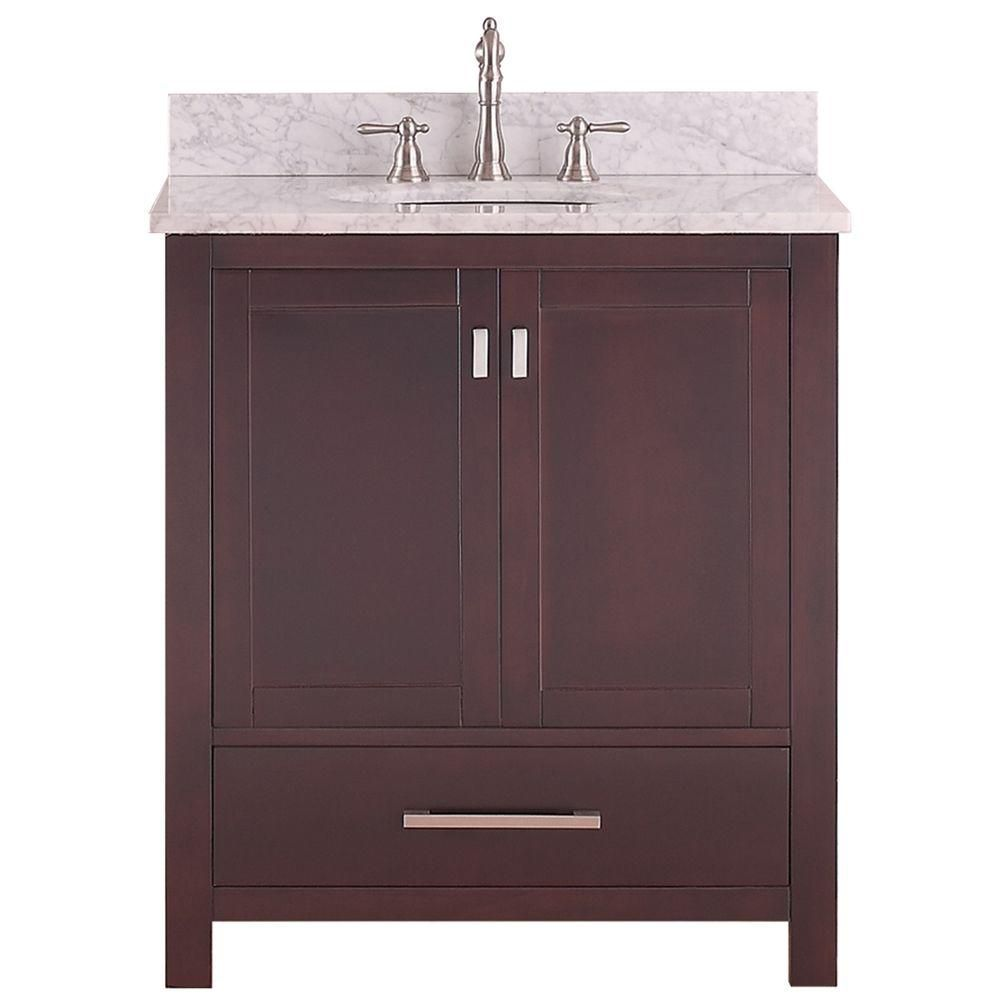 Modero 31-inch W Freestanding Vanity in Brown With Marble Top in White