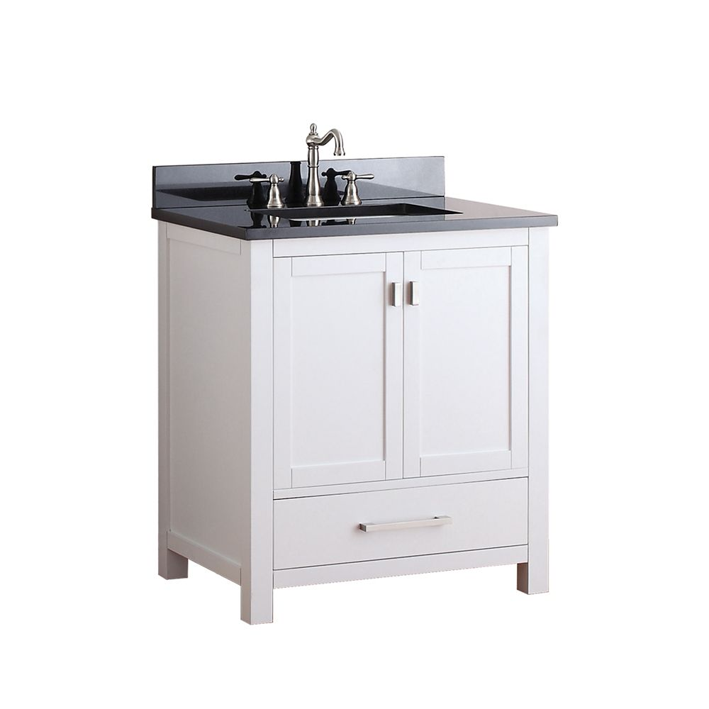 Modero 30-inch W Vanity in White Finish with Granite Top in Black
