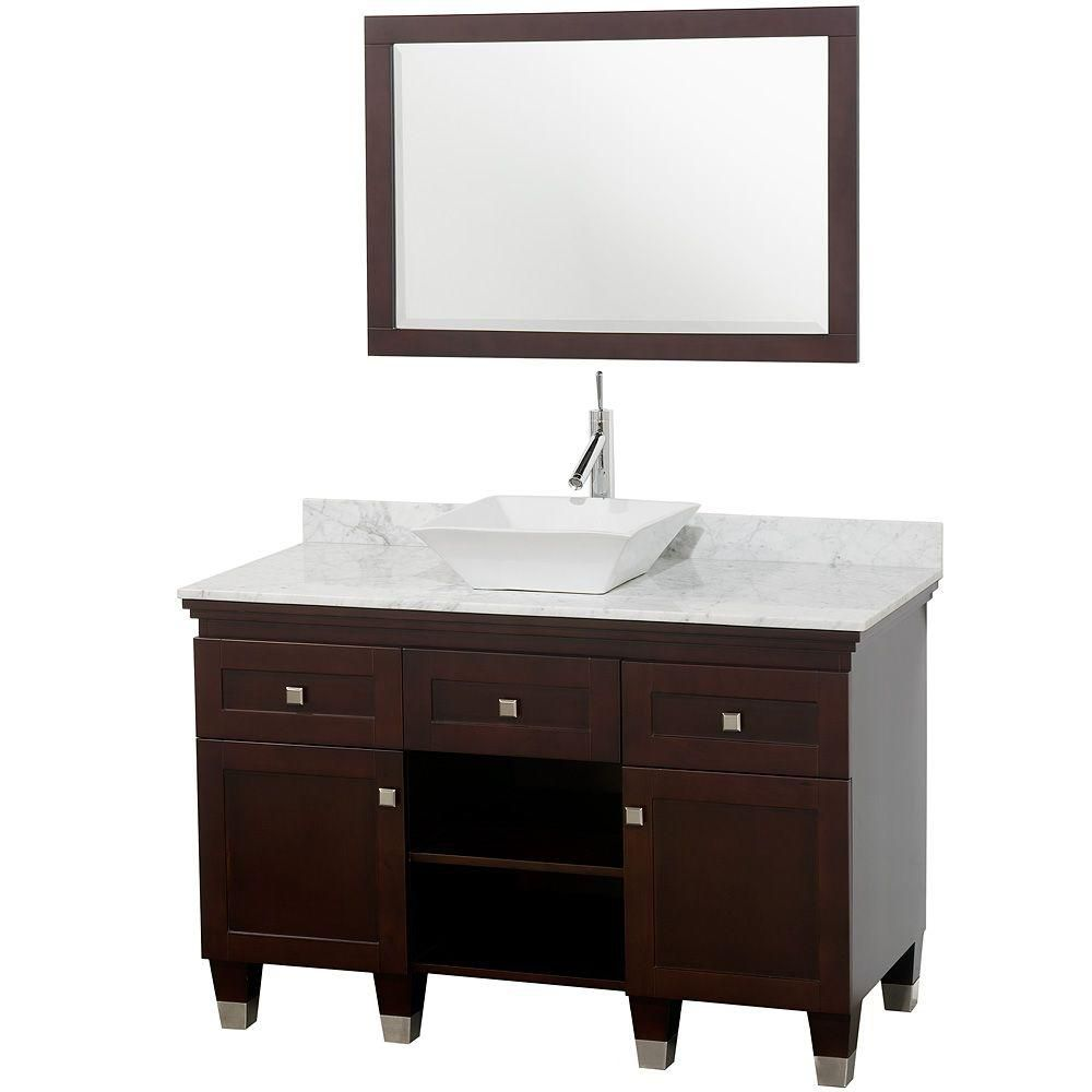 Premiere 48-inch W Vanity in Espresso with Marble Top in Carrara White, White Sink and Mirror