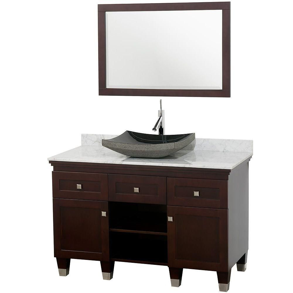 Premiere 48-inch W Vanity in Espresso with Marble Top in Carrara White, Black Sink and Mirror